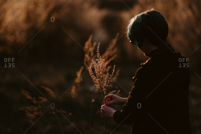 Woman holds a branch of flowers