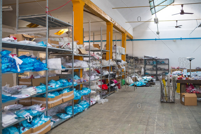 Storage room of a factory filled with fencing gear