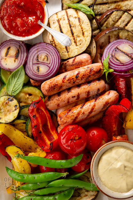 Grilled mixed vegetables and sausage