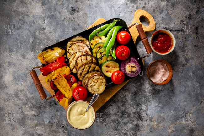 Barbecue vegetables on pan