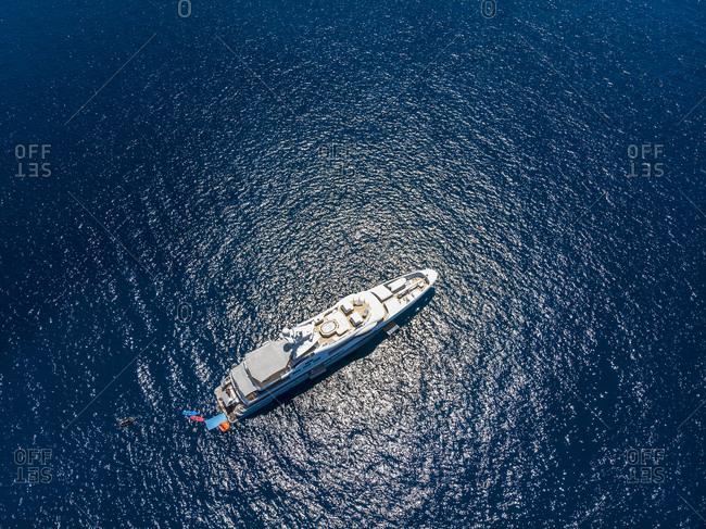 Spain- Majorca- Costa de la Calma- view to a luxury yacht- aerial view