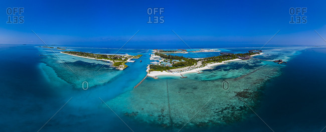 Maldives- South Male Atoll- lagoon of Olhuveli and Bodufinolhu- aerial view