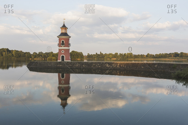 Germany- Saxony- Moritzburg Castle in the evening