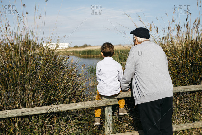 Back view of little boy and his grandfather looking at a lake