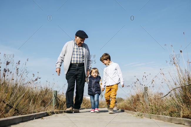 Grandfather strolling with his grandchildren hand in hand on boardwalk