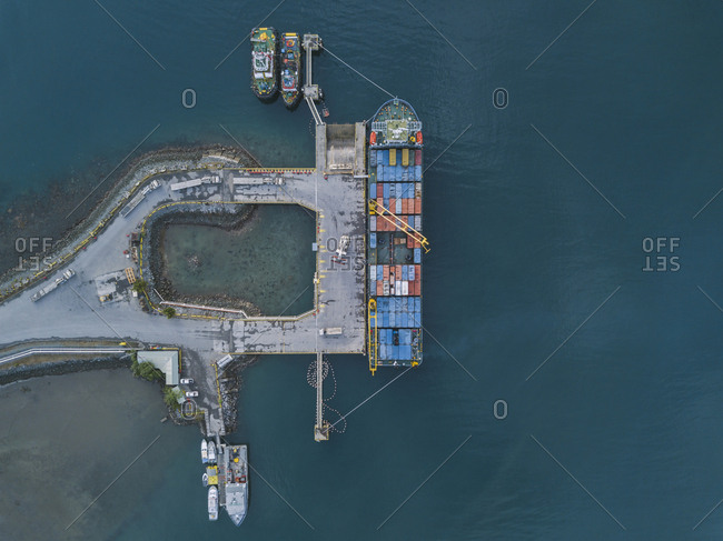 May 6, 2019: Indonesia- Sumbawa- Maluk- Aerial view of harbor- container ship from above