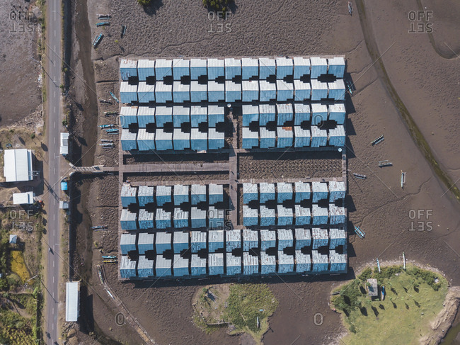Indonesia- West Sumbawa- Maluk- Aerial view of shrimp farm and salt plantation