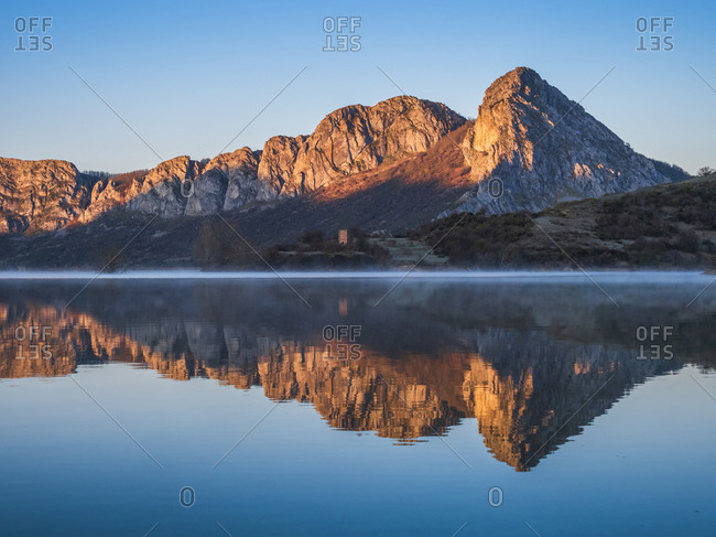 Spain- Asturias- Camposolillo- view over Porma reservoir and Cantabrian Mountains
