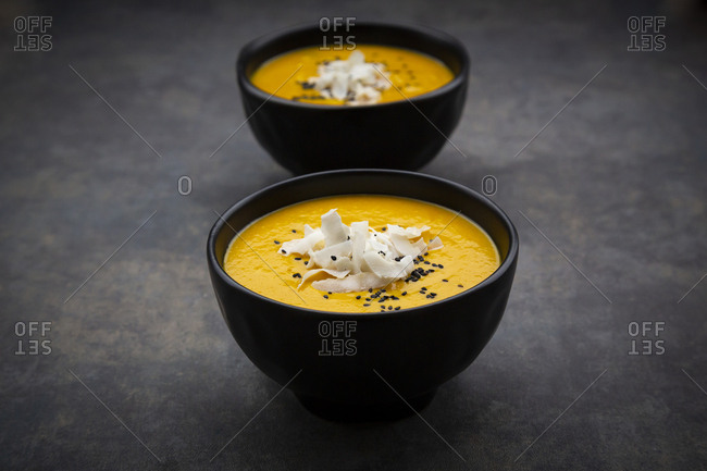 sweet potato soup  with mango- curcuma- coconut milk and black sesame