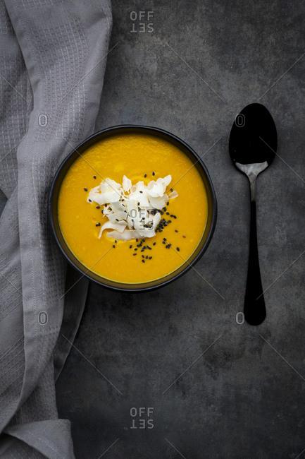 sweet potato soup  with mango- curcuma and coconut milk