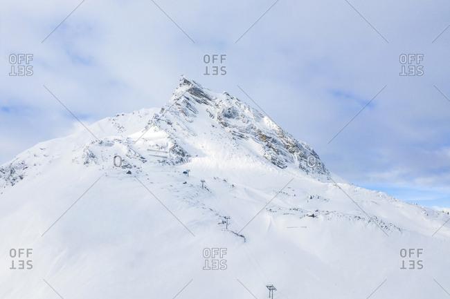 Austria- Tyrol- Galtuer- Ballunspitze- view to snowy mountains- aerial view