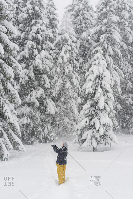 Finland- Kuopio- woman catching snowflakes in winter forest