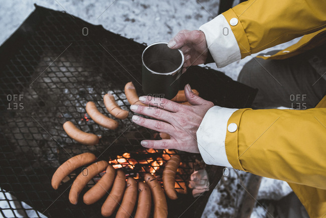 Close-up of woman having a winter barbecue