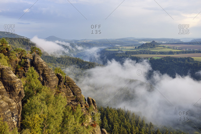 Germany- Saxony- Elbe Sandstone Mountains- view from the Schrammsteine viewpoint  to the Elbe River and Elbe Valley