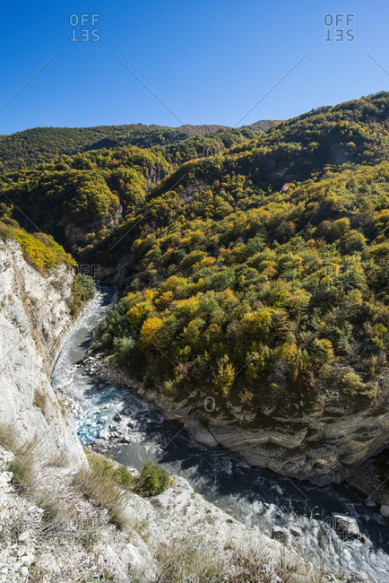 Russia- Caucasus- Chechnya- The Caucasian mountains in fall with the Argun river