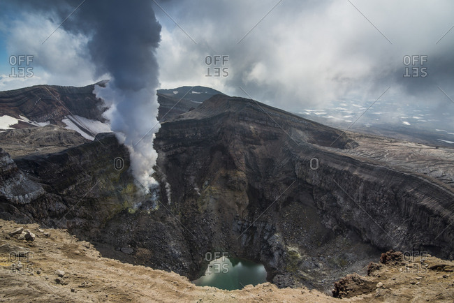 Russia- Kamchatka- steaming fumarole on the Gorely volcano