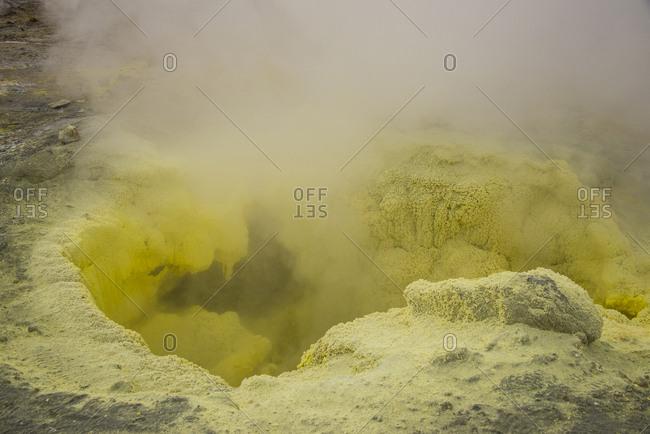 Russia- Kamchatka- smoking sulphur fumaroles on Mutnovsky volcano