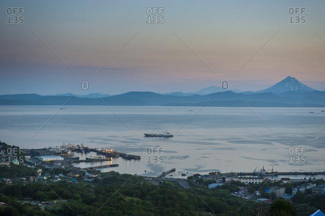 Russia- Kamchatka- Petropavlovsk-Kamchatsky- Avacha bay at sunset