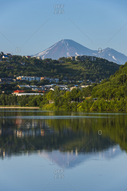 August 22, 2013: Russia- Kamchatka- Petropavlovsk-Kamchatsky- artificial lake in the harbor