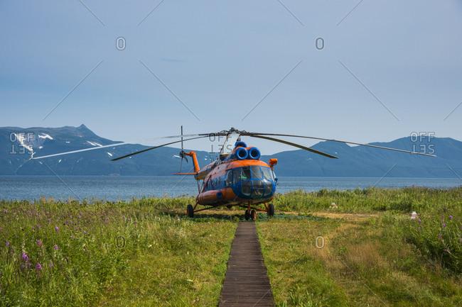 Russia- Kamchatka- helicopter on the Kurile lake