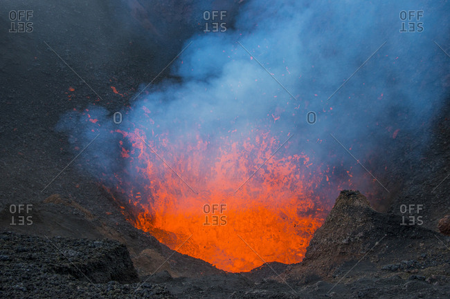Active lava eruption on the Tolbachik volcano- Kamchatka- Russia