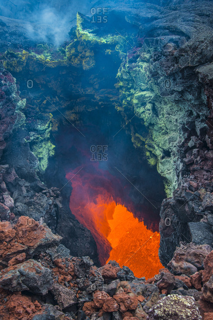 Active magma in a stream below the Tolbachik volcano- Kamchatka- Russia