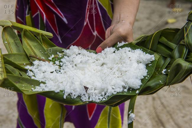 Bora Bora- Coconut served on a palm leaf