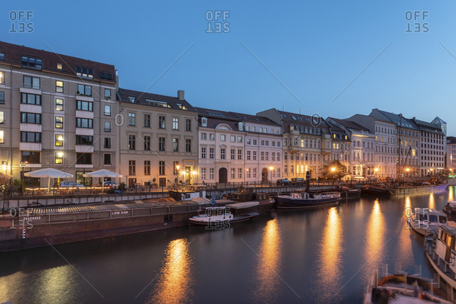September 3, 2018: Germany- Berlin- Museum Harbor at Maerkisches Ufer at twilight