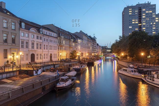 September 3, 2018: Germany- Berlin- Museum Harbor between Maerkisches Ufer and Fischerinsel at twilight