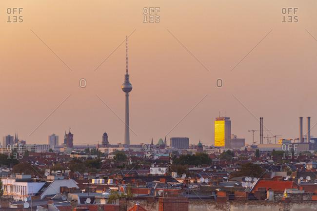 Germany- Berlin- skyline by sunset