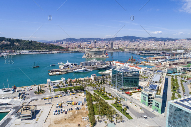 April 18, 2018: Spain- Barcelona- view to harbor from above