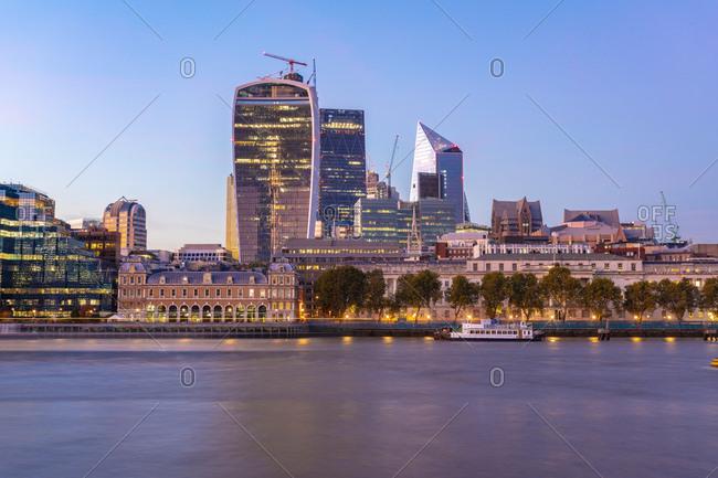September 29, 2018: UK- London- modern buildings at Liverpool Street at sunset