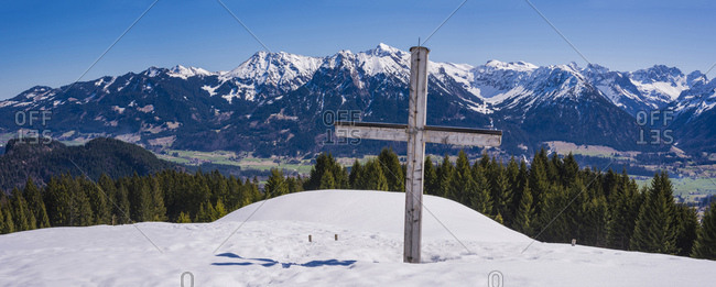 Germany- Bavaria- Allgaeu- Allgaeu Alps- Panoramic view from Gaisberg to Illertal