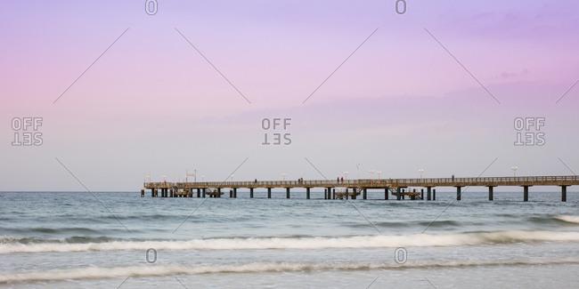 Germany- Ruegen- Binz- view to Baltic Sea and sea bridge