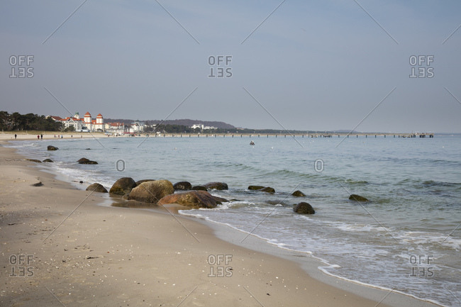 April 3, 2019: Germany- Ruegen- baltic seaside resort Binz- beach