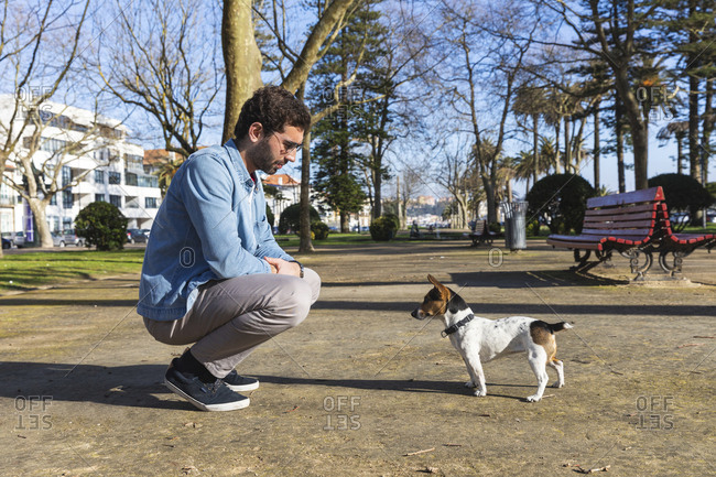 Young man teaching his dog in a park