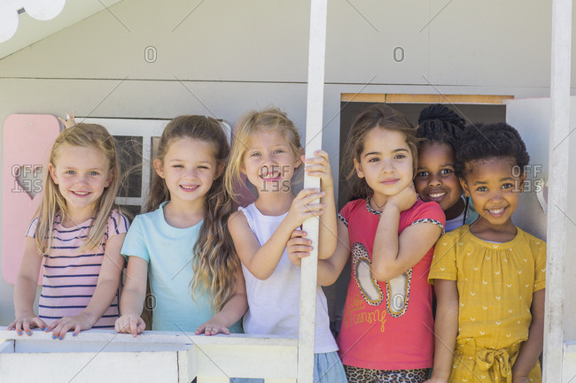 Portrait of smiling girls in kindergarten