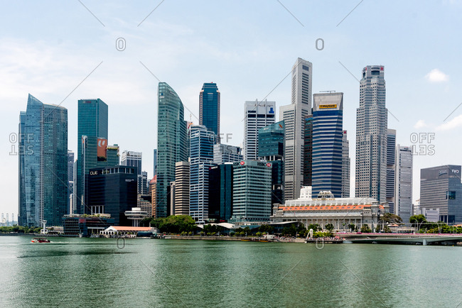 October 02, 2018: Singapore skyline at Marina Bay. Singapore