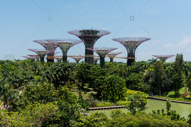 October 02, 2018: Supertrees at Gardens by the Bay in Singapore. Singapore