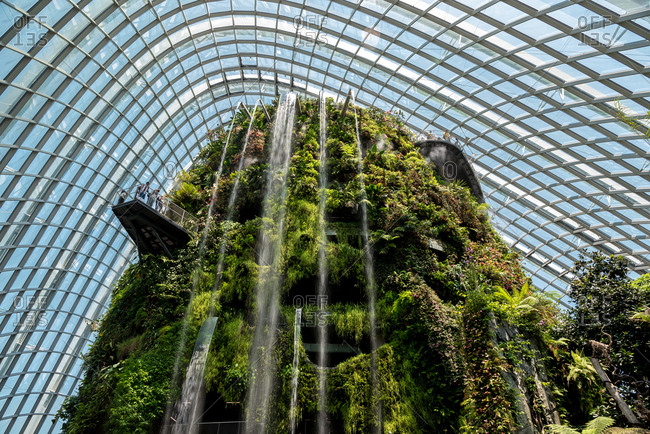 October 02, 2018: Cloud Forest, botanic garden with the highest artificial waterfall in the world. Gardens by the Bay. Singapore