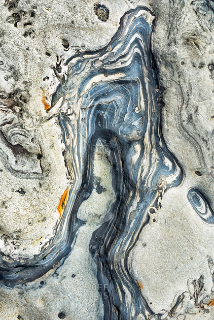 Abstract view of tide pool rocks with unique colors and patterns