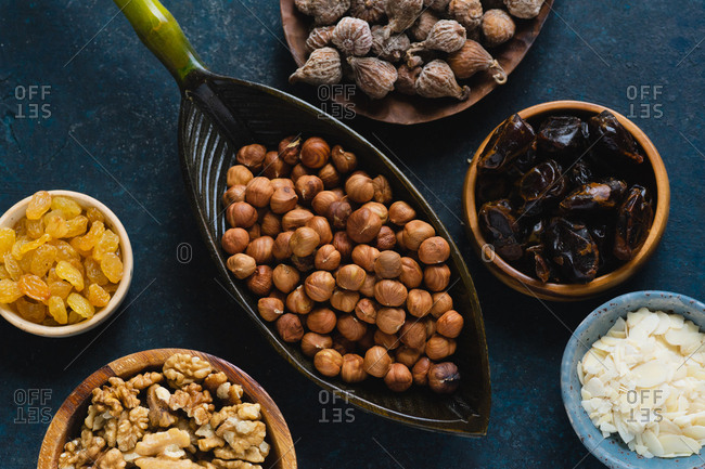 Flatlay with various nuts and dried fruits