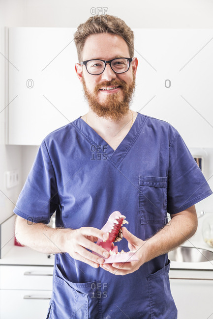 Smiling male redhead veterinarian poses with a canine dental chart in veterinary practice