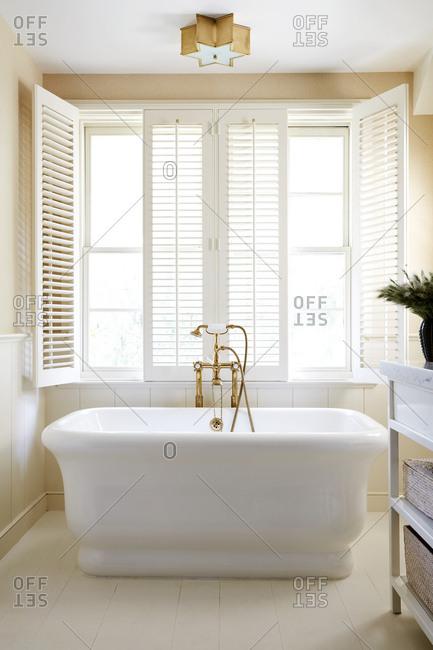 Soaker tub in an upscale bathroom
