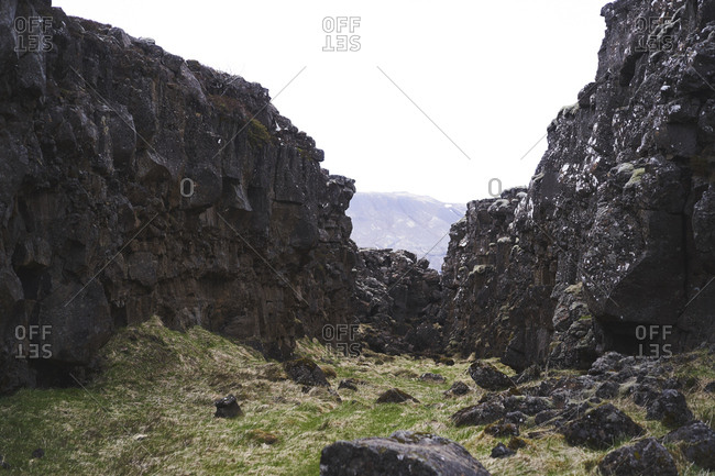 View of the Almannagha fault line in Pingvellir National Park, Iceland