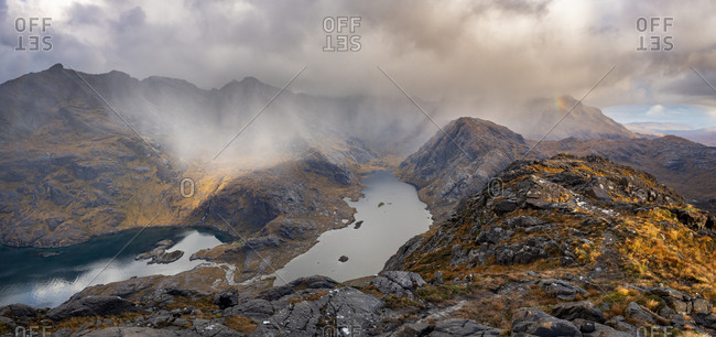 A view over Loch Coruisk and the main Cuillin ridge seen from the top of Sgurr Na Stri on the Isle of Skye in the Scottish Highlands