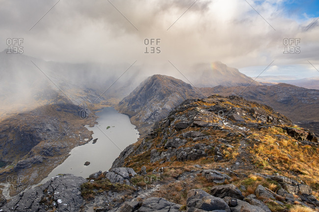 View over Loch Coruisk and the main Cuillin ridge seen from the top of Sgurr Na Stri on the Isle of Skye in the Scottish Highlands