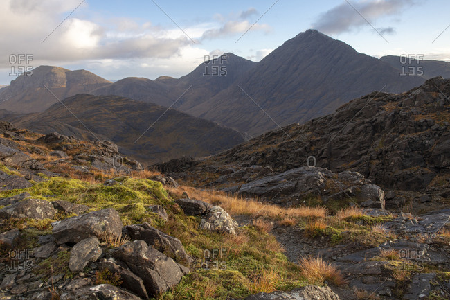 View from the top of Sgurr Na Stri on the Isle of Skye in the Scottish Highlands