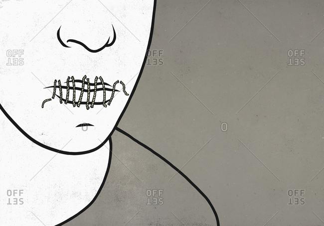 String sealing mans lips