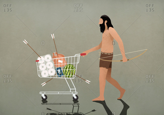 Caveman with bow and arrow pushing shopping cart